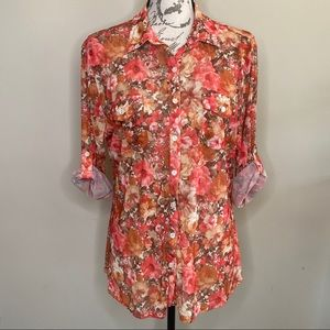 Anthropology Eden & Olivia floral button front top